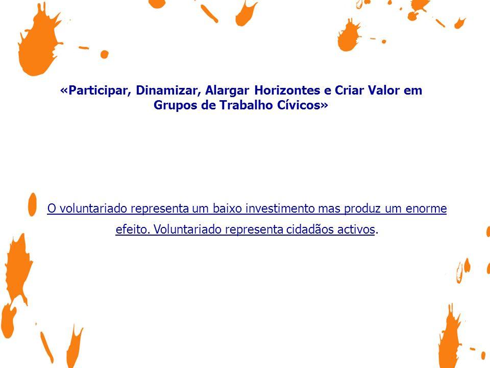 «Participar, Dinamizar, Alargar Horizontes e Criar Valor em Grupos de Trabalho Cívicos» O voluntariado representa um baixo investimento mas produz um