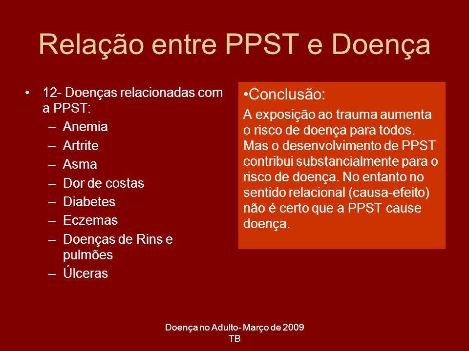 Doença no Adulto- Março de 2009 TB 12- Doenças relacionadas com a PPST: –Anemia –Artrite –Asma –Dor de costas –Diabetes –Eczemas –Doenças de Rins e pu
