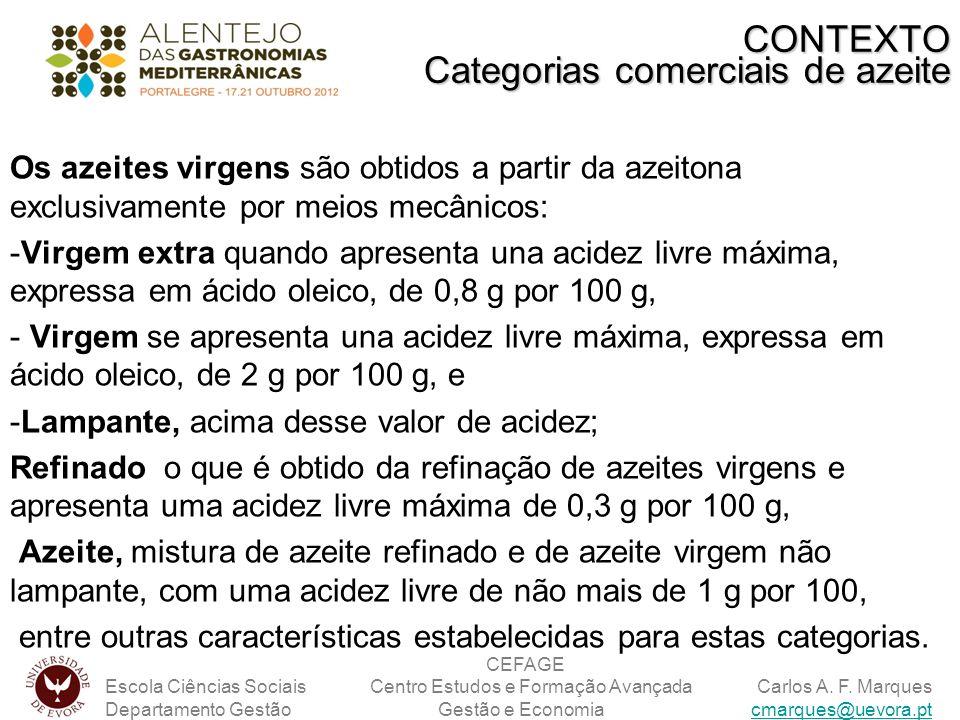 Os azeites virgens são obtidos a partir da azeitona exclusivamente por meios mecânicos: -Virgem extra quando apresenta una acidez livre máxima, expres