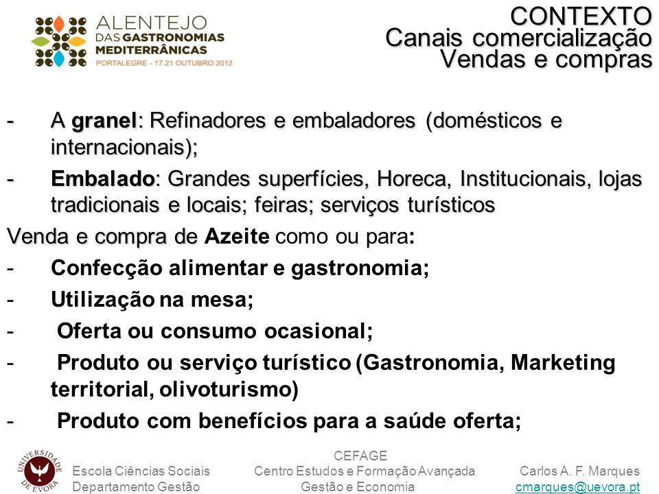 -A granel: Refinadores e embaladores (domésticos e internacionais); -Embalado: Grandes superfícies, Horeca, Institucionais, lojas tradicionais e locai