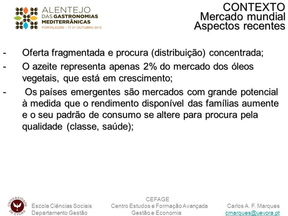 -Oferta fragmentada e procura (distribuição) concentrada; -O azeite representa apenas 2% do mercado dos óleos vegetais, que está em crescimento; - Os