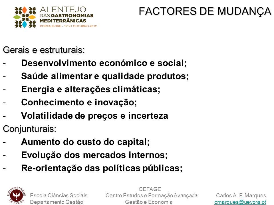 Gerais e estruturais: -Desenvolvimento económico e social; -Saúde alimentar e qualidade produtos; -Energia e alterações climáticas; -Conhecimento e in