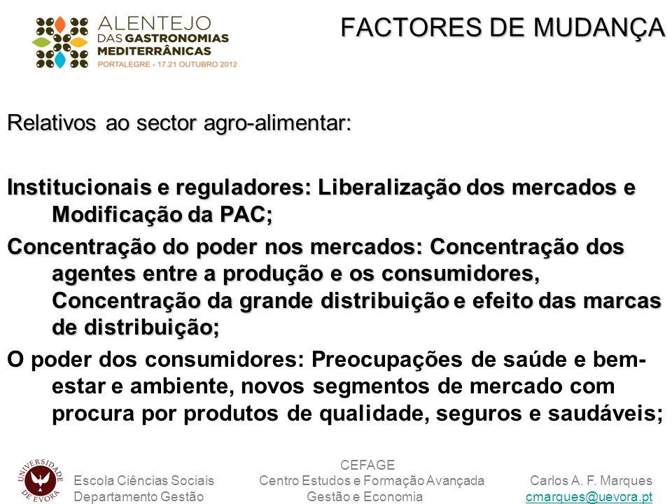 Relativos ao sector agro-alimentar: Institucionais e reguladores: Liberalização dos mercados e Modificação da PAC; Concentração do poder nos mercados: