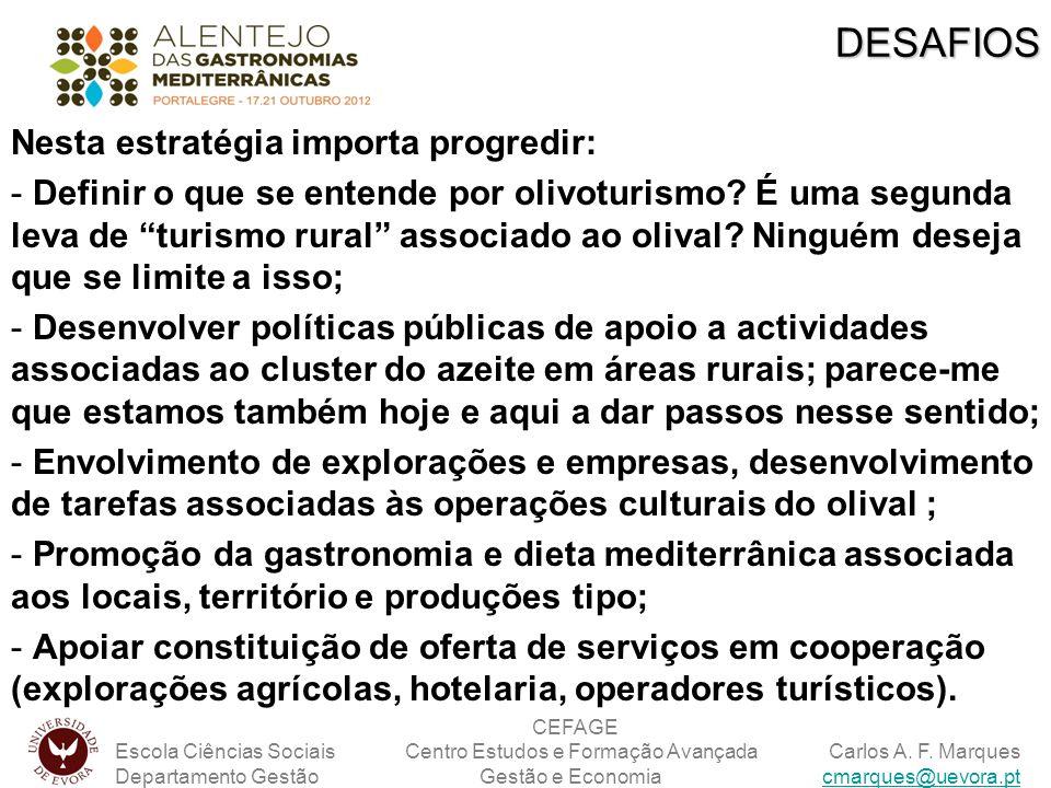 Nesta estratégia importa progredir: - Definir o que se entende por olivoturismo? É uma segunda leva de turismo rural associado ao olival? Ninguém dese