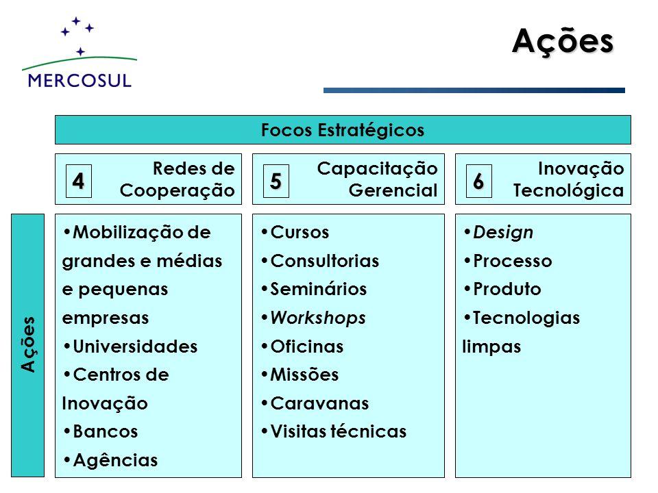 Ações Ações Focos Estratégicos Redes de Cooperação Capacitação Gerencial Inovação Tecnológica Mobilização de grandes e médias e pequenas empresas Univ