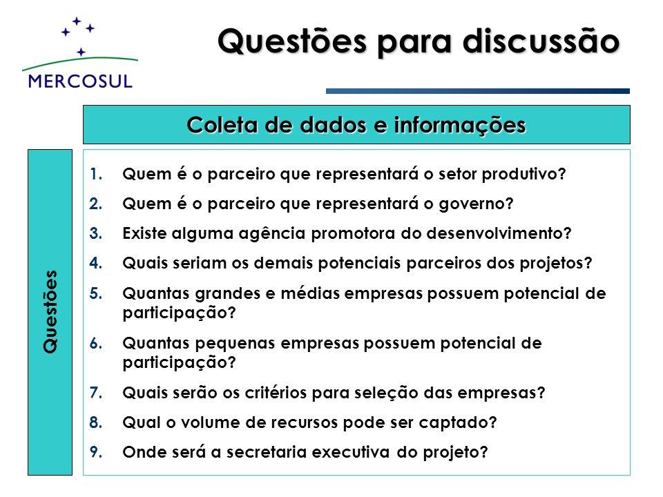Questões para discussão Questões 1. 1.Quem é o parceiro que representará o setor produtivo? 2. 2.Quem é o parceiro que representará o governo? 3. 3.Ex