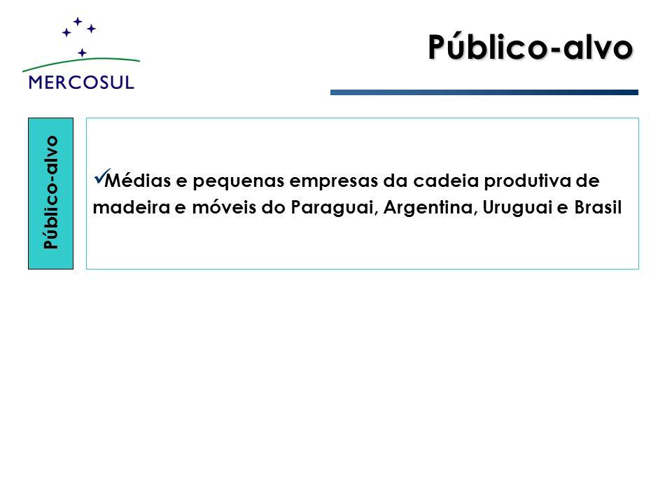 Público-alvo Público-alvo Médias e pequenas empresas da cadeia produtiva de madeira e móveis do Paraguai, Argentina, Uruguai e Brasil