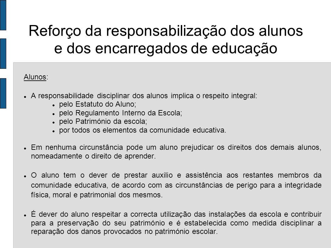 Alunos: A responsabilidade disciplinar dos alunos implica o respeito integral: pelo Estatuto do Aluno; pelo Regulamento Interno da Escola; pelo Patrim
