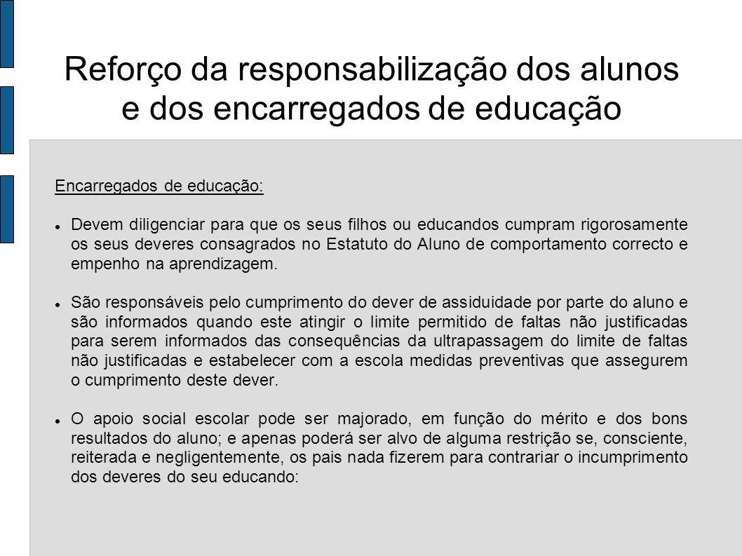Encarregados de educação: Devem diligenciar para que os seus filhos ou educandos cumpram rigorosamente os seus deveres consagrados no Estatuto do Alun