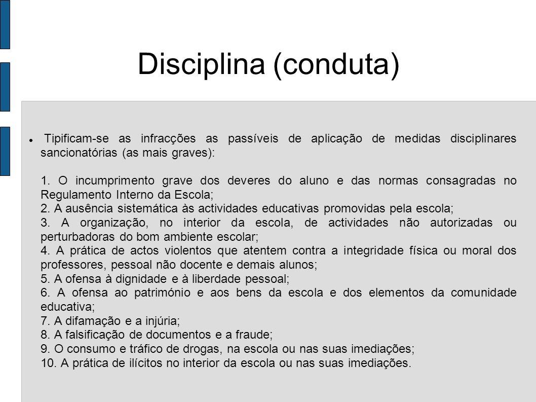 Disciplina (conduta) Tipificam-se as infracções as passíveis de aplicação de medidas disciplinares sancionatórias (as mais graves): 1. O incumprimento