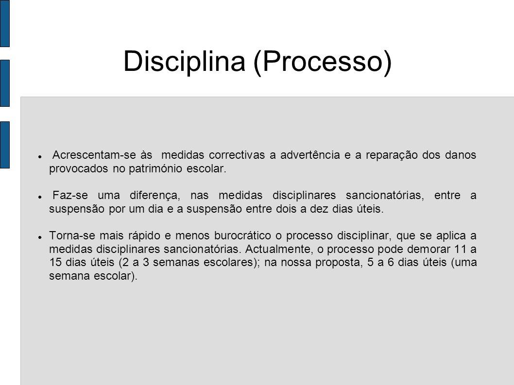 Disciplina (Processo) Acrescentam-se às medidas correctivas a advertência e a reparação dos danos provocados no património escolar. Faz-se uma diferen