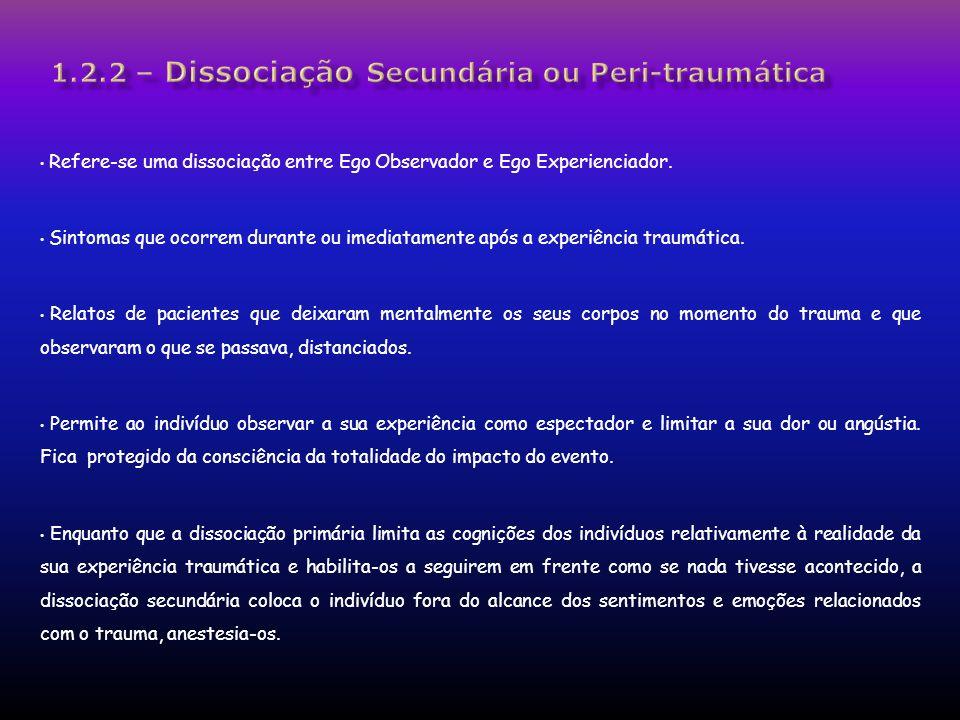 Refere-se uma dissociação entre Ego Observador e Ego Experienciador. Sintomas que ocorrem durante ou imediatamente após a experiência traumática. Rela
