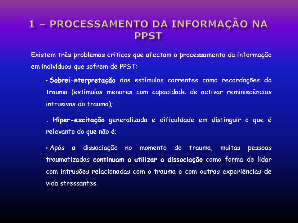 Existem três problemas críticos que afectam o processamento da informação em indivíduos que sofrem de PPST: Sobrei-nterpretação dos estímulos corrente
