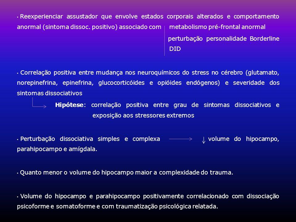 Reexperienciar assustador que envolve estados corporais alterados e comportamento anormal (sintoma dissoc. positivo) associado com metabolismo pré-fro