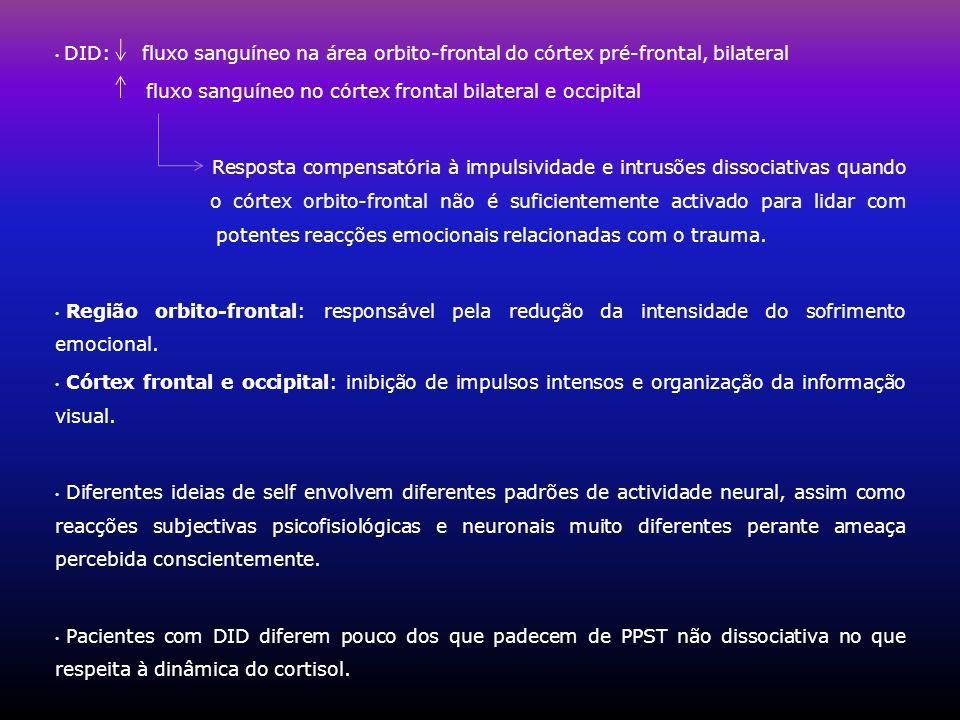 DID: fluxo sanguíneo na área orbito-frontal do córtex pré-frontal, bilateral fluxo sanguíneo no córtex frontal bilateral e occipital Resposta compensa