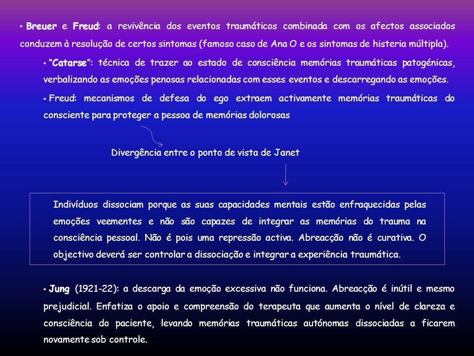 Breuer e Freud: a revivência dos eventos traumáticos combinada com os afectos associados conduzem à resolução de certos sintomas (famoso caso de Ana O