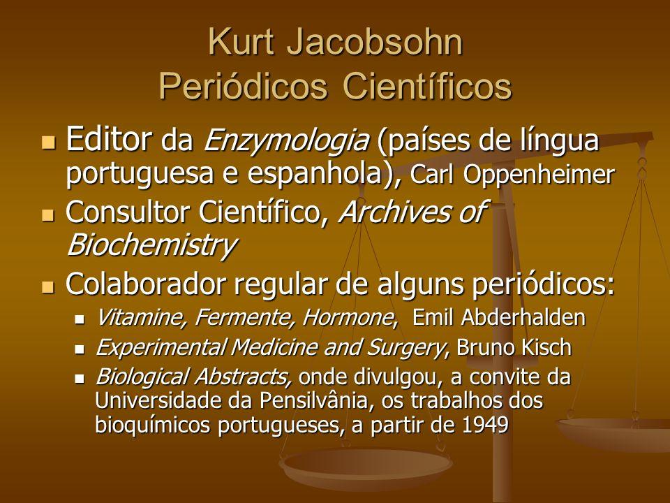 Kurt Jacobsohn Periódicos Científicos Editor da Enzymologia (países de língua portuguesa e espanhola), Carl Oppenheimer Editor da Enzymologia (países