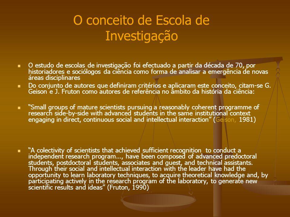 O estudo de escolas de investigação foi efectuado a partir da década de 70, por historiadores e sociólogos da ciência como forma de analisar a emergên
