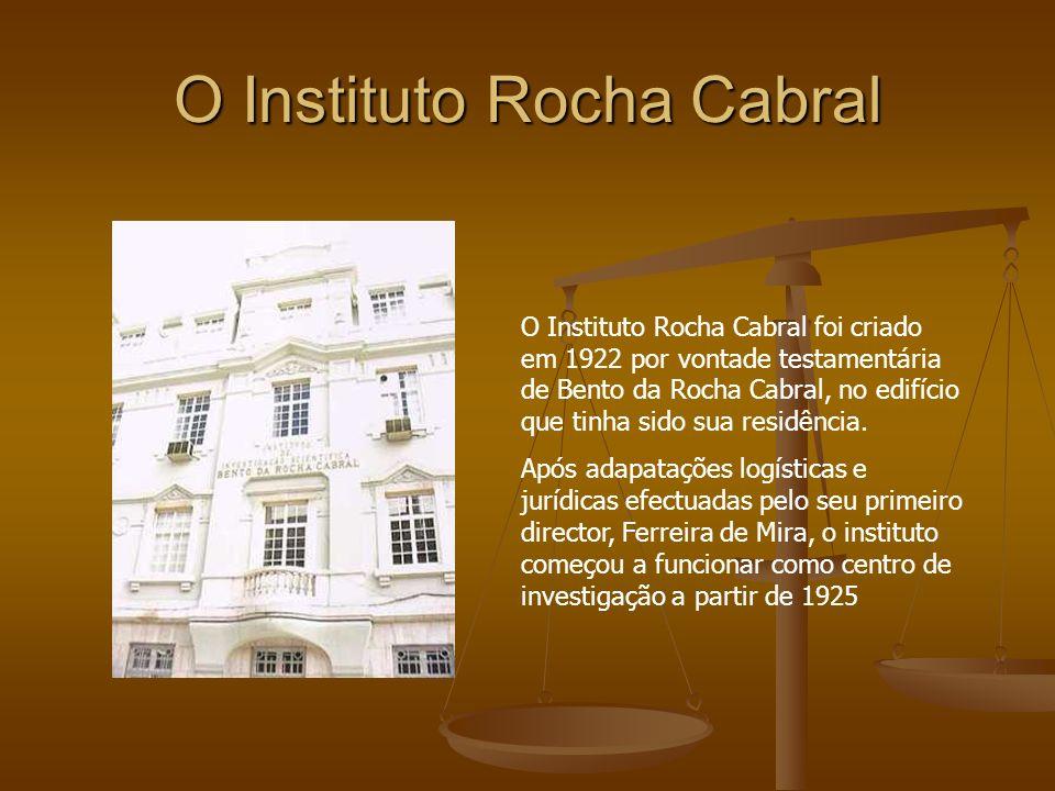 O Instituto Rocha Cabral O Instituto Rocha Cabral foi criado em 1922 por vontade testamentária de Bento da Rocha Cabral, no edifício que tinha sido su