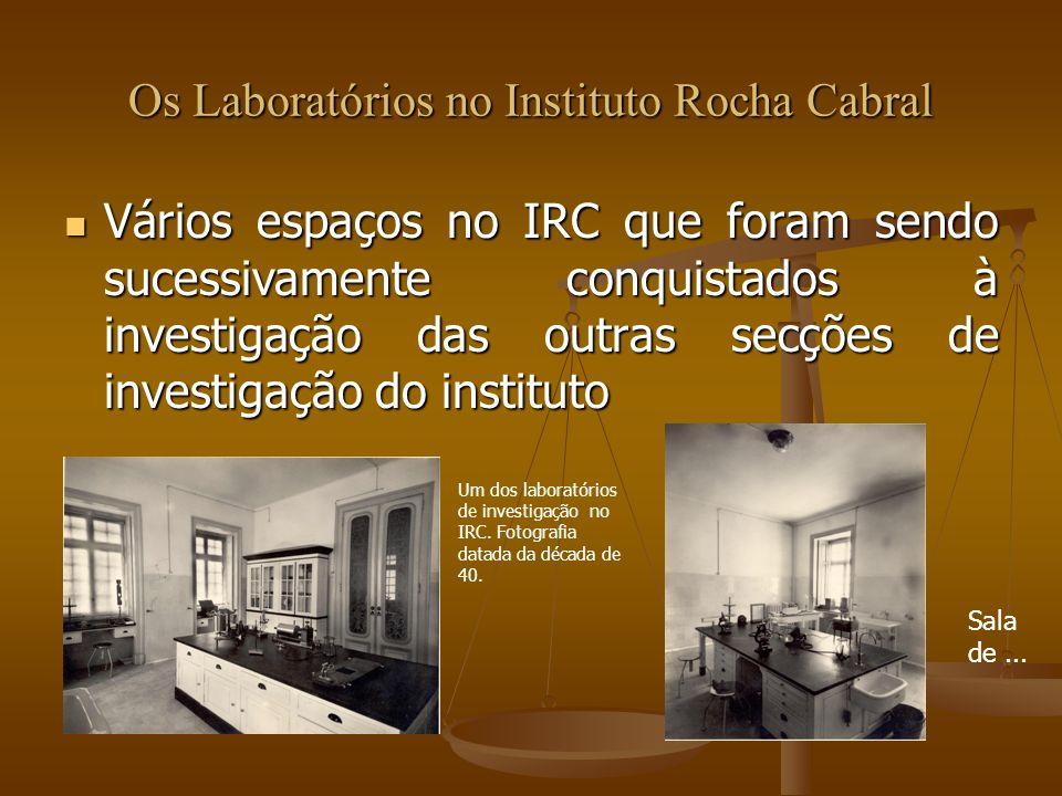 Os Laboratórios no Instituto Rocha Cabral Vários espaços no IRC que foram sendo sucessivamente conquistados à investigação das outras secções de inves