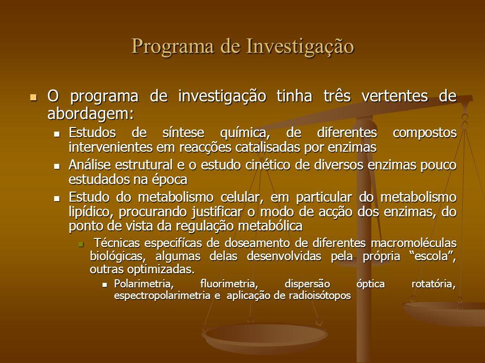 Programa de Investigação O programa de investigação tinha três vertentes de abordagem: O programa de investigação tinha três vertentes de abordagem: E