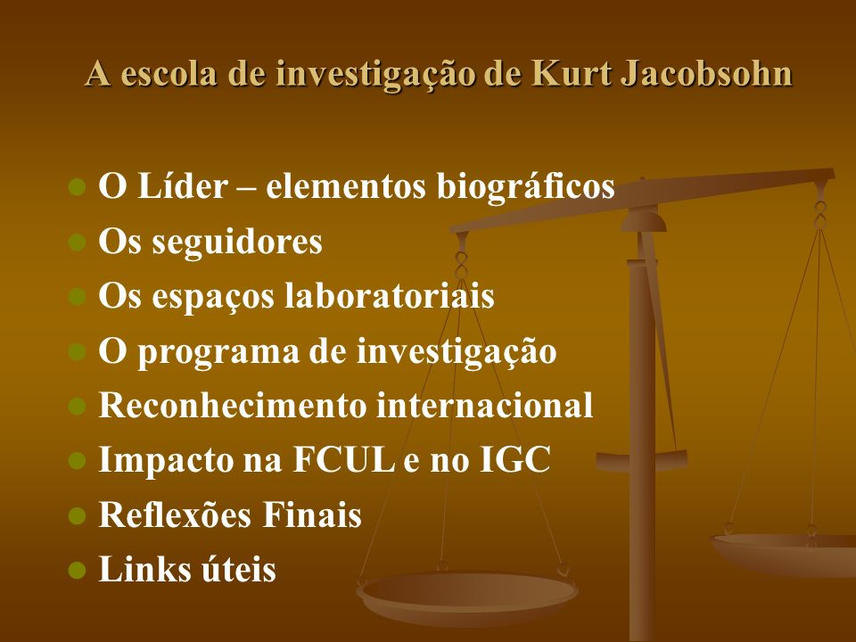 Algumas Reflexões Kurt Jacobsohn assinou a primeira página da história da bioquímica em Portugal Kurt Jacobsohn assinou a primeira página da história da bioquímica em Portugal Fê-lo inaugurando uma tradição científica proveniente de um dos principais centros de investigação de bioquímica do mundo que foi pioneiro na emancipação da bioquímica na alvorada do séc.