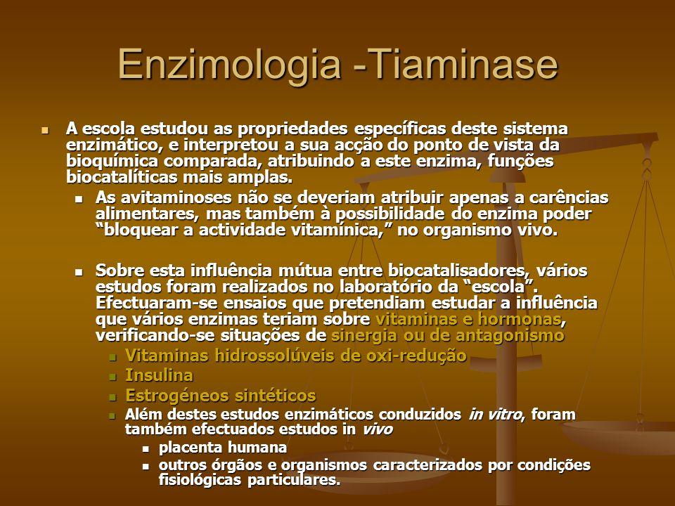 Enzimologia -Tiaminase A escola estudou as propriedades específicas deste sistema enzimático, e interpretou a sua acção do ponto de vista da bioquímic
