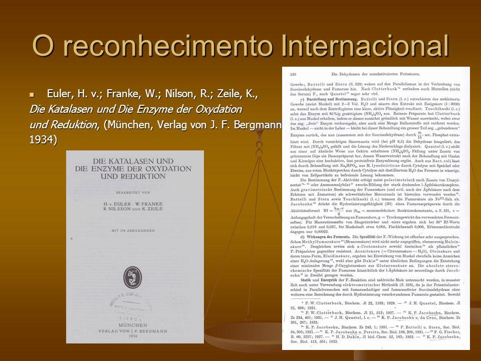 O reconhecimento Internacional Euler, H. v.; Franke, W.; Nilson, R.; Zeile, K., Euler, H. v.; Franke, W.; Nilson, R.; Zeile, K., Die Katalasen und Die