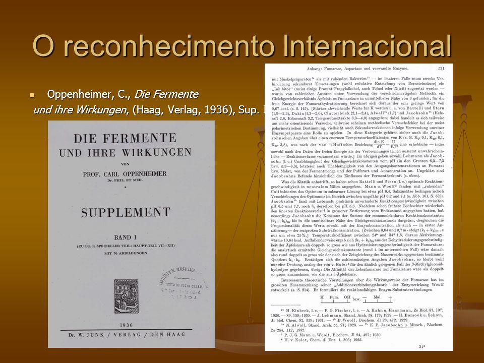 O reconhecimento Internacional Oppenheimer, C., Die Fermente Oppenheimer, C., Die Fermente und ihre Wirkungen, (Haag, Verlag, 1936), Sup. I und ihre W