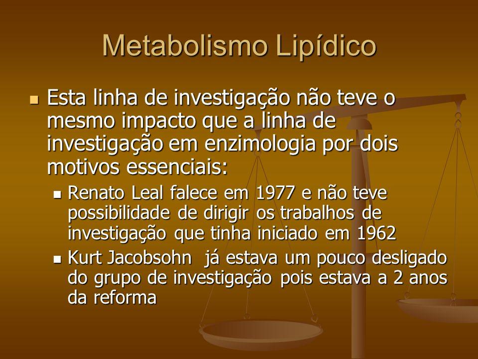 Metabolismo Lipídico Esta linha de investigação não teve o mesmo impacto que a linha de investigação em enzimologia por dois motivos essenciais: Esta