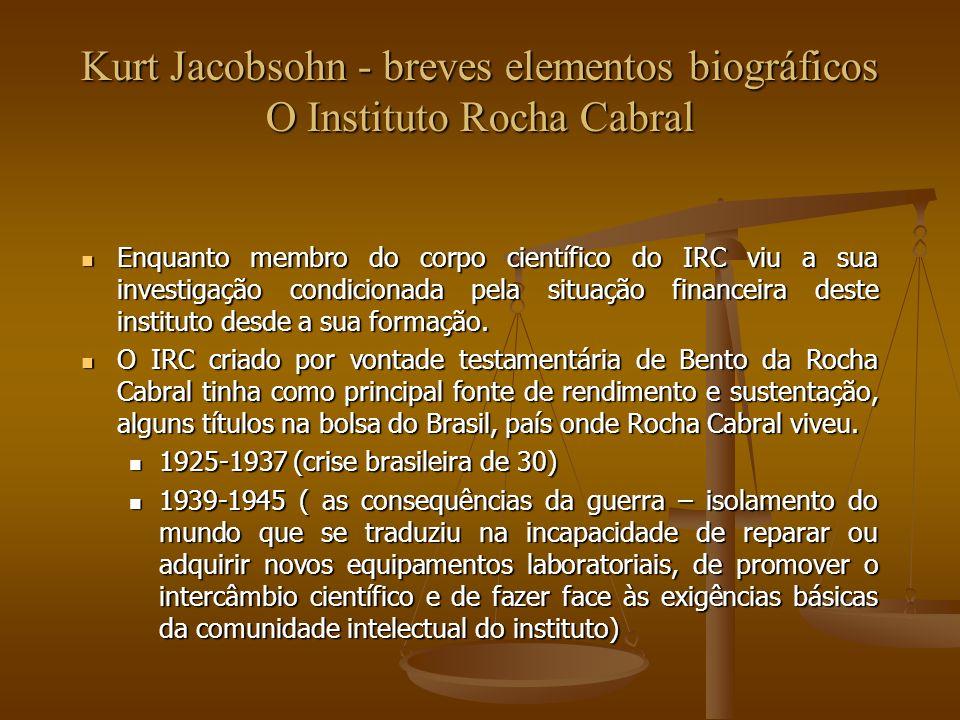 Kurt Jacobsohn - breves elementos biográficos O Instituto Rocha Cabral > 1952 (alunos da FCUL – face à situação de penúria em que o IRC vivia, e à necessidade de desenvolver a investigação, a direcção pediu apoio financeiro à FCG para modernizar o equipamento laboratorial e sustentar a investigação no grupo de Kurt Jacobsohn > 1952 (alunos da FCUL – face à situação de penúria em que o IRC vivia, e à necessidade de desenvolver a investigação, a direcção pediu apoio financeiro à FCG para modernizar o equipamento laboratorial e sustentar a investigação no grupo de Kurt Jacobsohn A FCG financiou a investigação entre 1958 e 1953 ao mesmo tempo que criou condições para ela própria criar um Instituto de Ciência a partir de um grupo de microbiologia que incluia Nicolau van Uden e Isabel Spencer que utilzou as instalações do IRC A FCG financiou a investigação entre 1958 e 1953 ao mesmo tempo que criou condições para ela própria criar um Instituto de Ciência a partir de um grupo de microbiologia que incluia Nicolau van Uden e Isabel Spencer que utilzou as instalações do IRC De 1963 a 1974 o IRC foi perdendo capacidade de financiar a investigação.