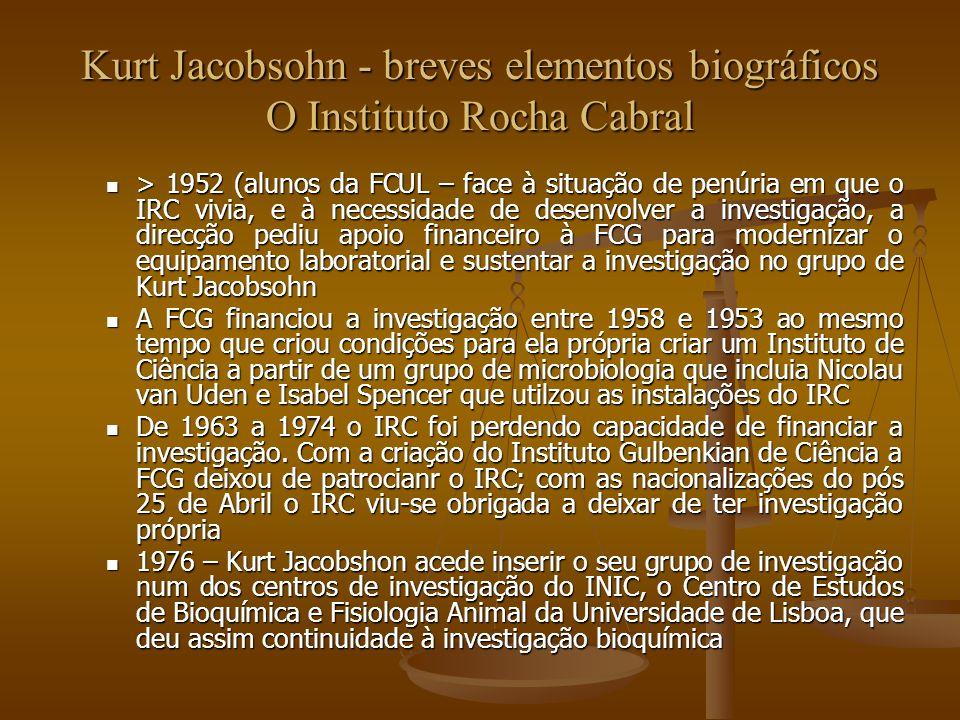 Kurt Jacobsohn - breves elementos biográficos O Instituto Rocha Cabral > 1952 (alunos da FCUL – face à situação de penúria em que o IRC vivia, e à nec
