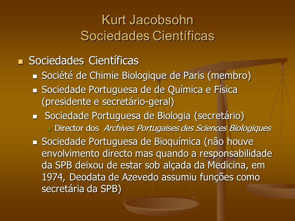 Kurt Jacobsohn Sociedades Científicas Sociedades Científicas Sociedades Científicas Société de Chimie Biologique de Paris (membro) Société de Chimie B