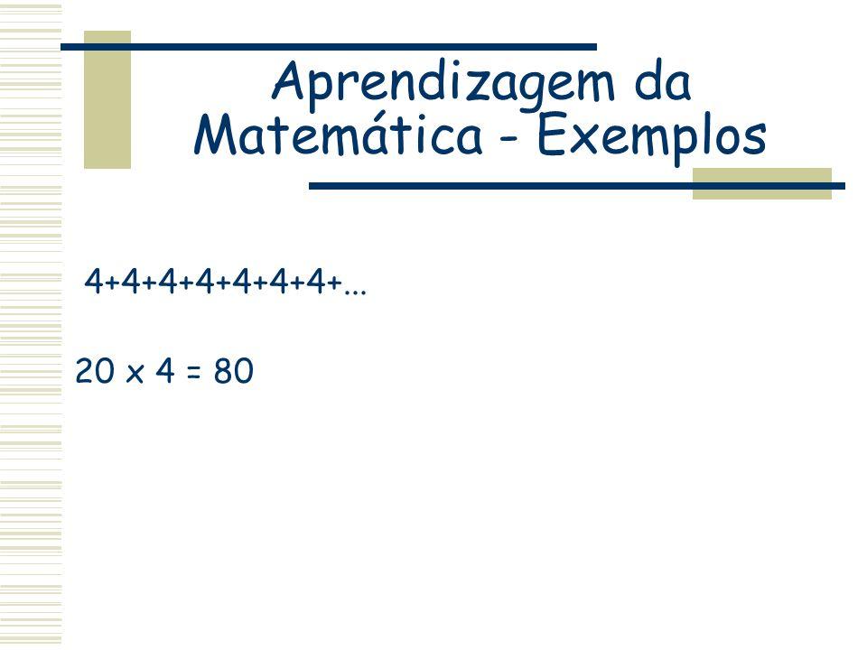 Aprendizagem da Matemática - Exemplos 4+4+4+4+4+4+4+... 20 x 4 = 80