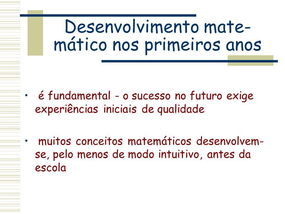 Desenvolvimento mate- mático nos primeiros anos é fundamental - o sucesso no futuro exige experiências iniciais de qualidade muitos conceitos matemáti