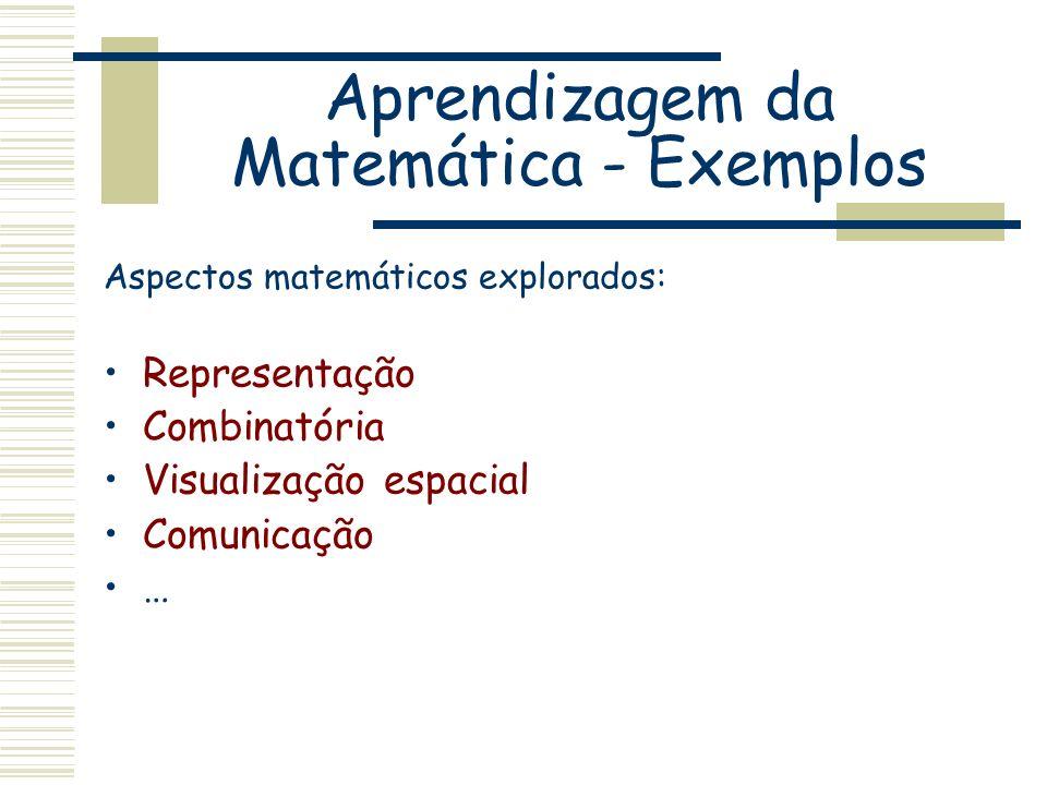 Aspectos matemáticos explorados: Representação Combinatória Visualização espacial Comunicação …