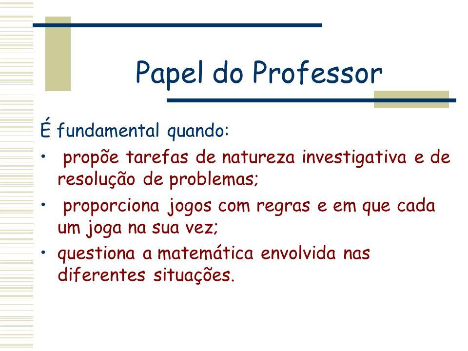 Papel do Professor É fundamental quando: propõe tarefas de natureza investigativa e de resolução de problemas; proporciona jogos com regras e em que c