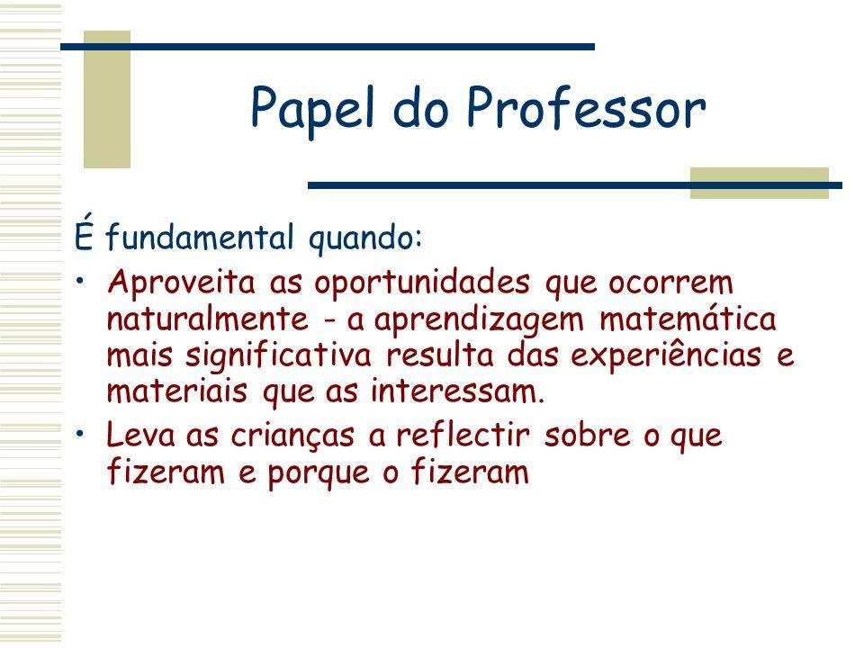 Papel do Professor É fundamental quando: Aproveita as oportunidades que ocorrem naturalmente - a aprendizagem matemática mais significativa resulta da