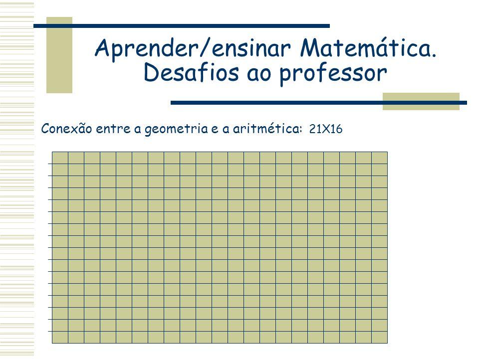 Aprender/ensinar Matemática. Desafios ao professor Conexão entre a geometria e a aritmética: 21X16