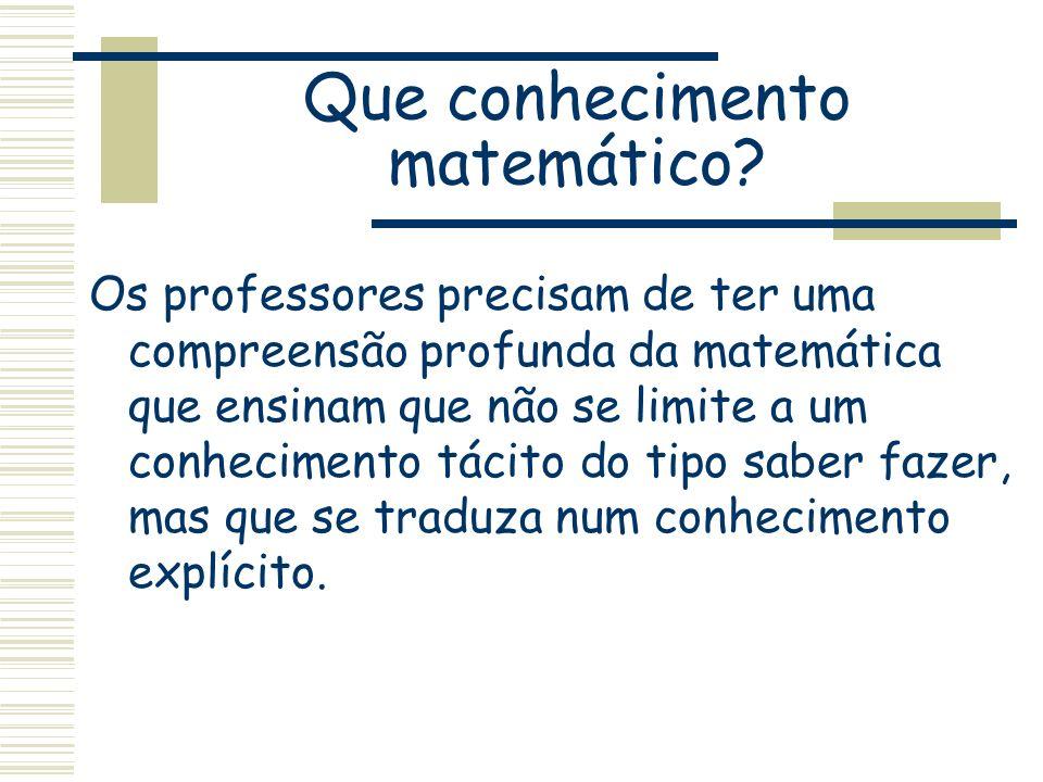 Que conhecimento matemático? Os professores precisam de ter uma compreensão profunda da matemática que ensinam que não se limite a um conhecimento tác