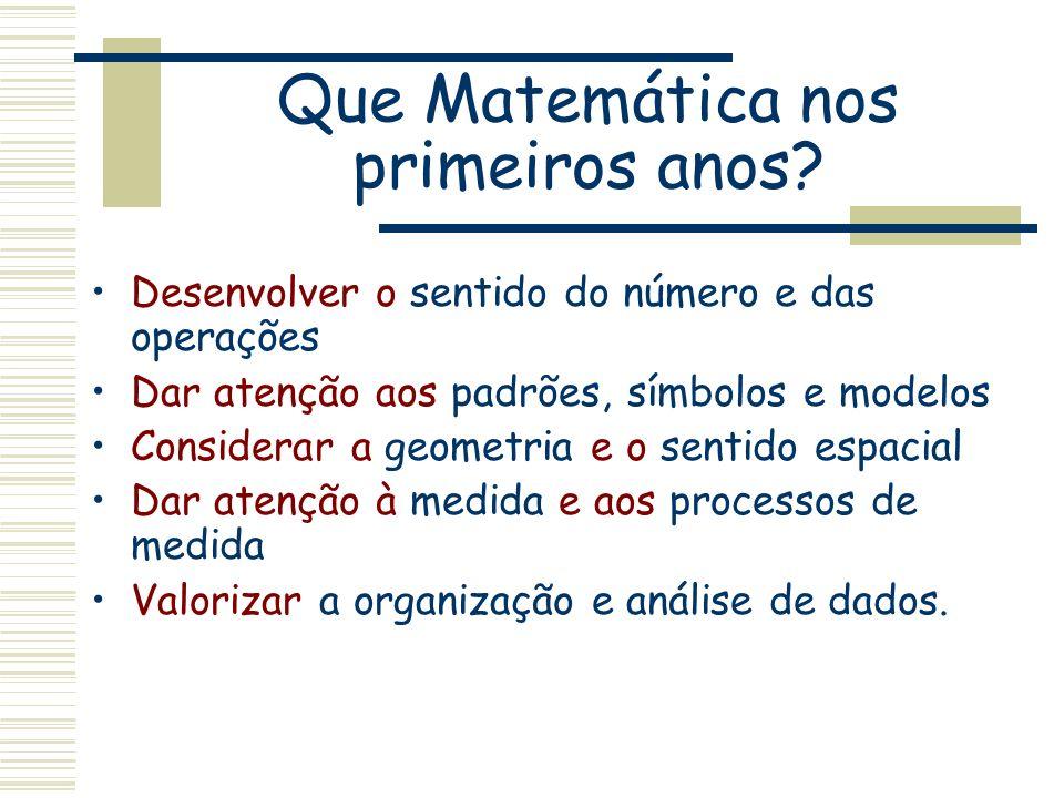 Que Matemática nos primeiros anos? Desenvolver o sentido do número e das operações Dar atenção aos padrões, símbolos e modelos Considerar a geometria