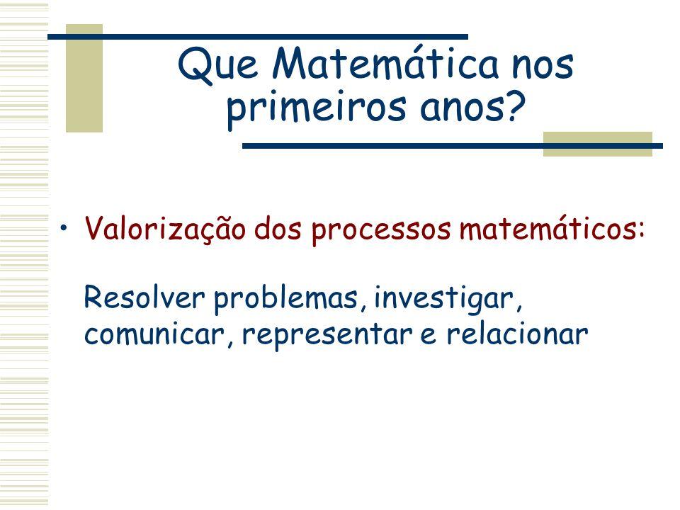 Que Matemática nos primeiros anos? Valorização dos processos matemáticos: Resolver problemas, investigar, comunicar, representar e relacionar