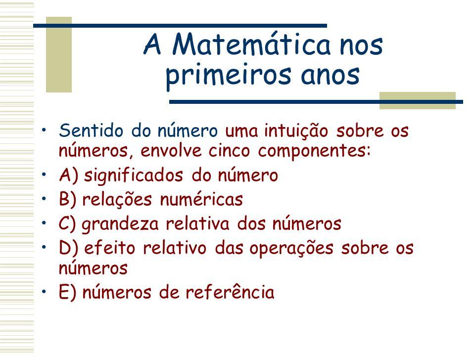 A Matemática nos primeiros anos Sentido do número uma intuição sobre os números, envolve cinco componentes: A) significados do número B) relações numé