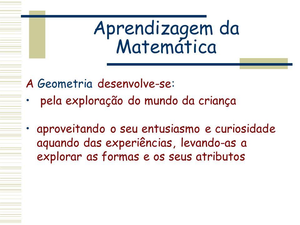 Aprendizagem da Matemática A Geometria desenvolve-se: pela exploração do mundo da criança aproveitando o seu entusiasmo e curiosidade aquando das expe