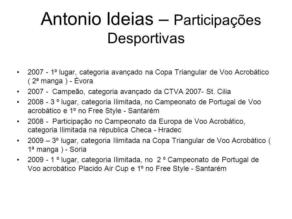 Antonio Ideias – Participações Desportivas 2007 - 1º lugar, categoria avançado na Copa Triangular de Voo Acrobático ( 2ª manga ) - Évora 2007 - Campeã