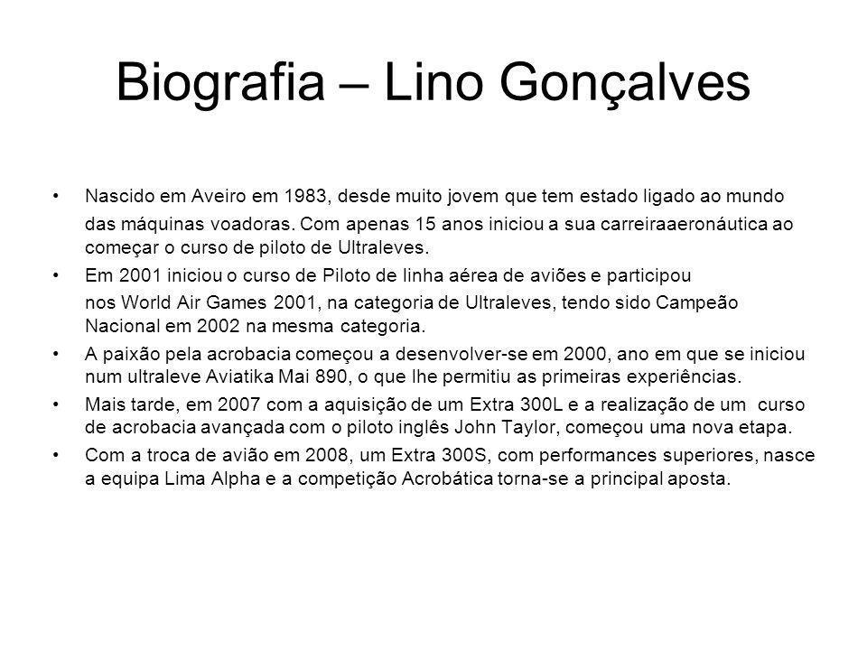 Biografia – Lino Gonçalves Nascido em Aveiro em 1983, desde muito jovem que tem estado ligado ao mundo das máquinas voadoras. Com apenas 15 anos inici