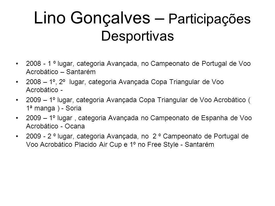 Lino Gonçalves – Participações Desportivas 2008 - 1 º lugar, categoria Avançada, no Campeonato de Portugal de Voo Acrobático – Santarém 2008 – 1º, 2º