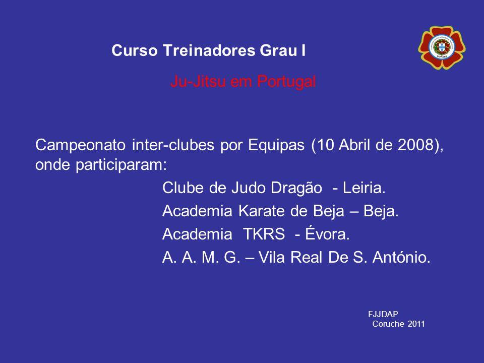 Campeonato inter-clubes por Equipas (10 Abril de 2008), onde participaram: Clube de Judo Dragão - Leiria. Academia Karate de Beja – Beja. Academia TKR
