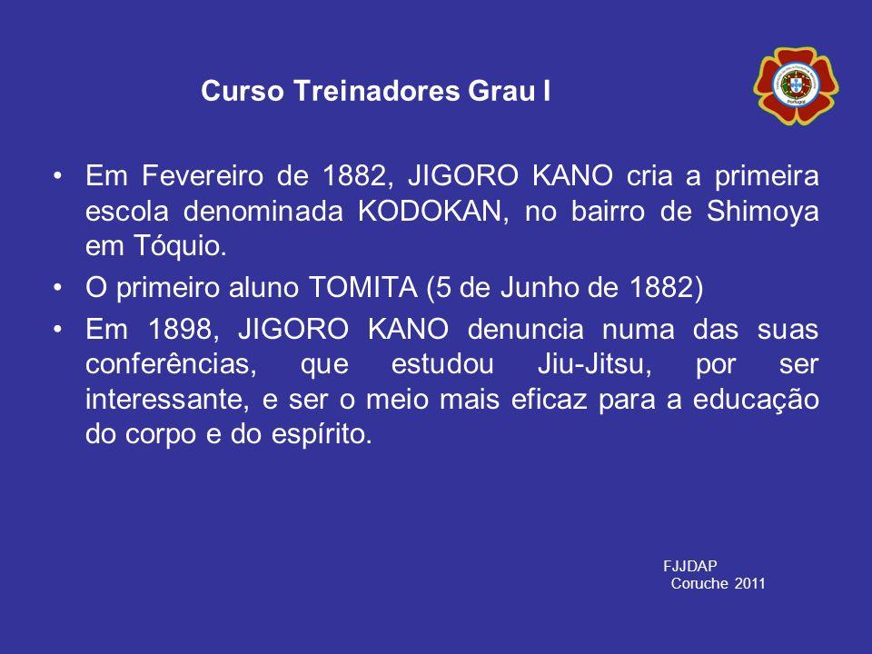 Em Fevereiro de 1882, JIGORO KANO cria a primeira escola denominada KODOKAN, no bairro de Shimoya em Tóquio. O primeiro aluno TOMITA (5 de Junho de 18