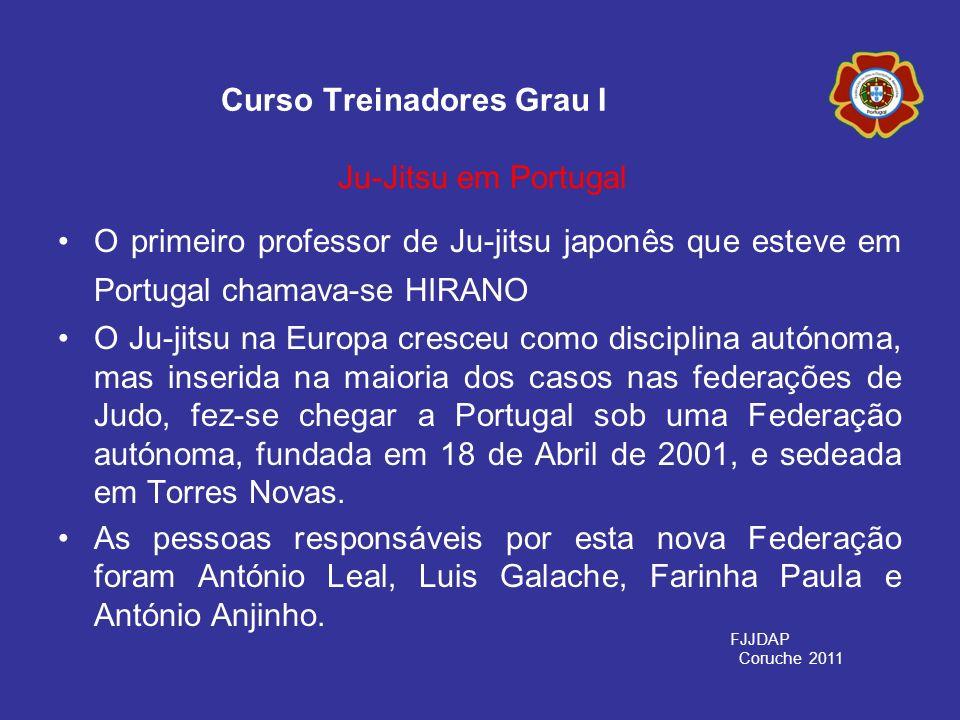 O primeiro professor de Ju-jitsu japonês que esteve em Portugal chamava-se HIRANO O Ju-jitsu na Europa cresceu como disciplina autónoma, mas inserida
